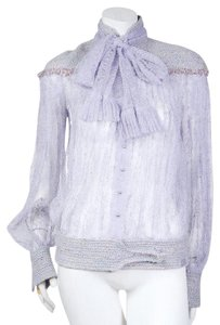 Chanel Lace Bow Top Lilac