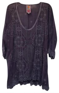 Johnny Was Eyelet Bohemian 3/4 Sleeve Embroidered Tunic