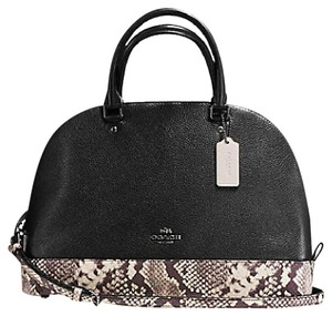Coach Satchel in Black and Snakeskin