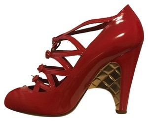 Chanel Red with gold quilted heel Platforms