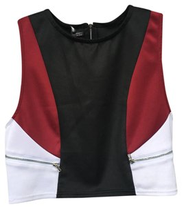 Urban Outfitters Top black, white, red, silver zippers