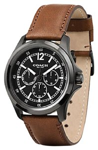 Coach Coach Mens BARROW IONIZED PLATED LEATHER STRAP WATCH