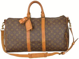 Louis Vuitton Duffle Gym Keepall Suitcase Strap Brown Travel Bag
