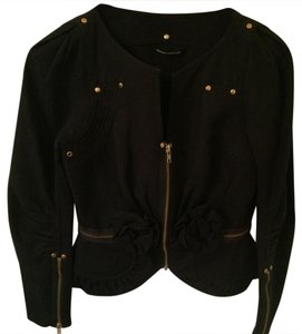 Charles Chang Lima black with gold zipper Blazer