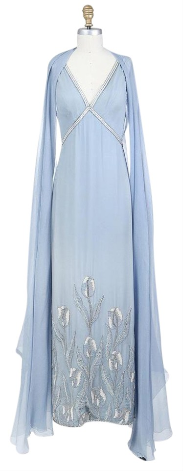 Chanel Frost Blue Chiffon Gown with Bead and Sequin Design C. 1960s ...