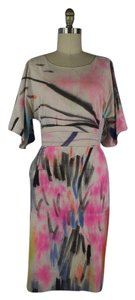 Fort Makers Naomi Clark short dress white, pink, black Hand Painted Abstract Print Silk on Tradesy