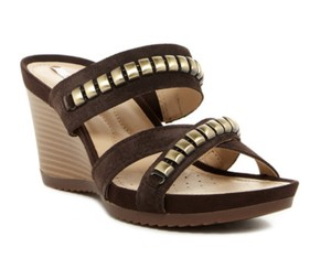 Geox Leather Suede Open Toe Studded Coffee Wedges