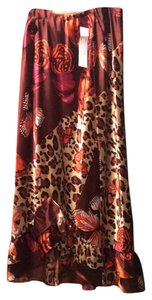 Russell Kemp Skirt brown print with leopard and butterflies, orange