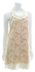 VENUS short dress Tan/Cream Lace Floral Lace Floral Spring on Tradesy