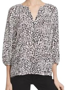 Joie Top white and black sheer print