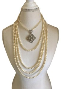 Chanel NWT CHANEL WHITE PEARL 5-STRAND NECKLACE with Crystal Pendant CC Logo