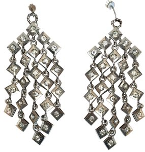 Other Stunning Rhodium plated silver and CZ chandelier earrings