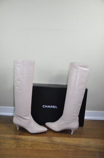 Chanel Runway Leather Cc Logo Knee High Size 41.5 With Box Light Pink Boots