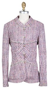Chanel Boucle Mandarin Collar Gold Buttons pink Jacket