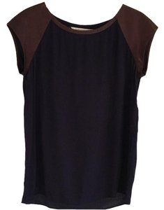 Diane von Furstenberg Top navy and brown