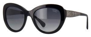Chanel AUTH Signature Butterfly Black Polarized Sunglasses - Style 5346
