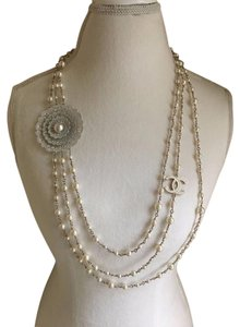 Chanel NWT CHANEL WHITE PEARL TRIPLE STRAND NECKLACE with Doily Brooch CC Log