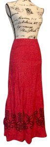 Free People Romantic Summer Roses Maxi Skirt Red