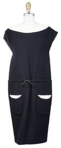 Chanel Structure Drawtsring Wool Sleeveless Dress