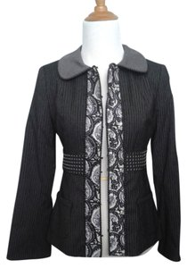 Nanette Lepore Viscose Wool Paisley Black/Grey/White Blazer