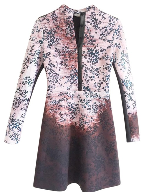 Item - Multicolor Haunted Wallpaper High Neck Button Front Long Sleeve Mid-length Night Out Dress Size 6 (S)