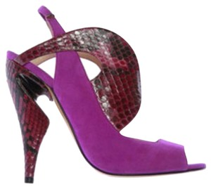Nicholas Kirkwood Suede Unique fuschia and burgundy red snakeskin Platforms