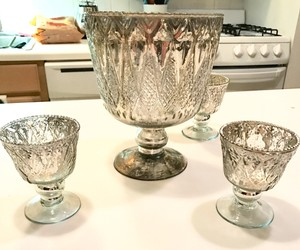 Mercury Glass Silver 9 Inch Vase And 4 Mercury Glass Candle Holders