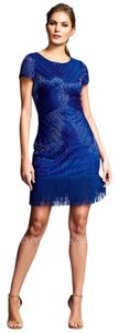 Aidan Mattox Fringe Hem Beaded Sheath Dress
