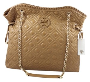 Tory Burch Marion Quilted Tigers Eye Light Brown Leather Tote in Coffee