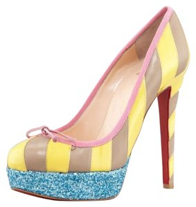 Christian Louboutin Heels Platform Forane Striped Glitter Yellow, Pink, Taupe, Blue Pumps