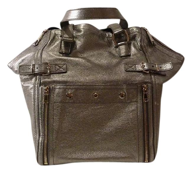 Item - Downtown Medium Silver Leather Tote