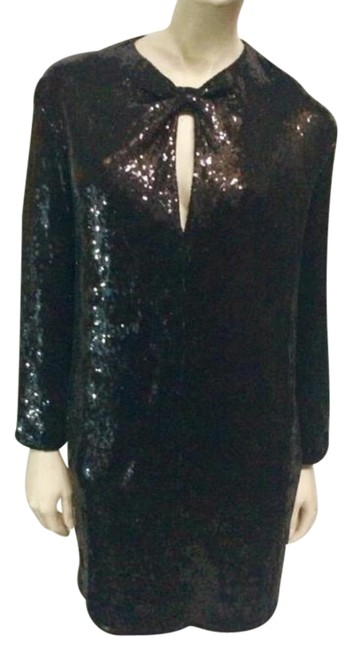 Balmain Black Sequined Knee Length Night Out Dress Size 12 (L) Balmain Black Sequined Knee Length Night Out Dress Size 12 (L) Image 1