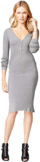 Item - Gray L New | Allison Henley Sexy Knit Midi V Neck Sweater Mid-length Work/Office Dress Size 12 (L)