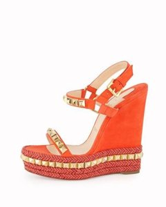 Christian Louboutin Wedge Cataclou Studded Capucine (Orange) Platforms