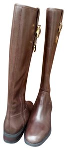 Coach Chestnut Leather Boots