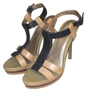 BCBG Paris Tan and Black Platforms
