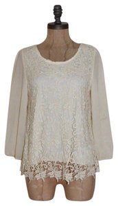 B*Envied Lace Trim Scoop Back Top BEIGE