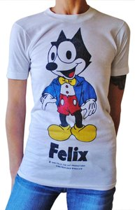 Sneakers Felix The Cat 1980's Vintage T Shirt White