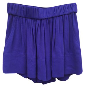 IRO Elastic Waistband Slits Pleated Flowy Relaxed Mini/Short Shorts Blue