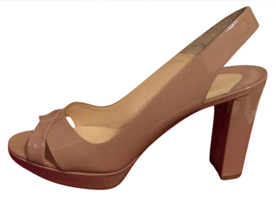 2fed0f8d256 Christian Louboutin Nude Marpolo 90 Patent Leather Platform Slingback Heels  39.5 Sandals