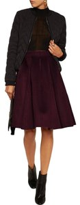 Maje Perforated Neoprene Pleated A Line Full Skirt Purple