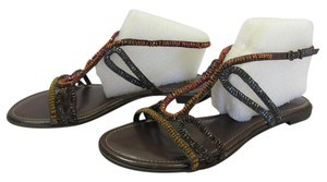 a.n.a. a new approach Size 9.00 M Bugle Beads Very Good Condition Brown, Red, Yellow, Blue, Sandals