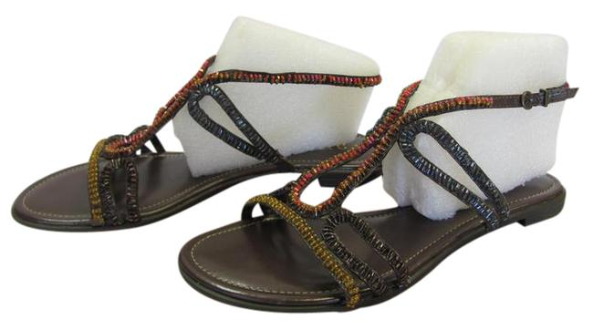 Item - Brown Red Yellow Blue M Bugle Beads Very Good Condition Sandals Size US 9 Regular (M, B)
