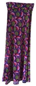 LuLaRoe Maxi Skirt Blue-purple with very pretty red, yellow, lavender and cream colored floral pattern