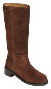 Vince Pull On Leather Suede Brown Boots