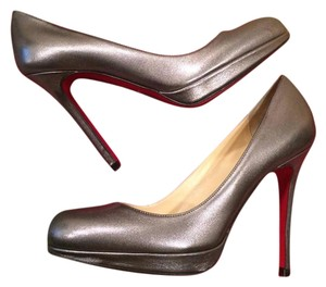 Christian Louboutin Heels Platform Simple Metallic Pewter Pumps