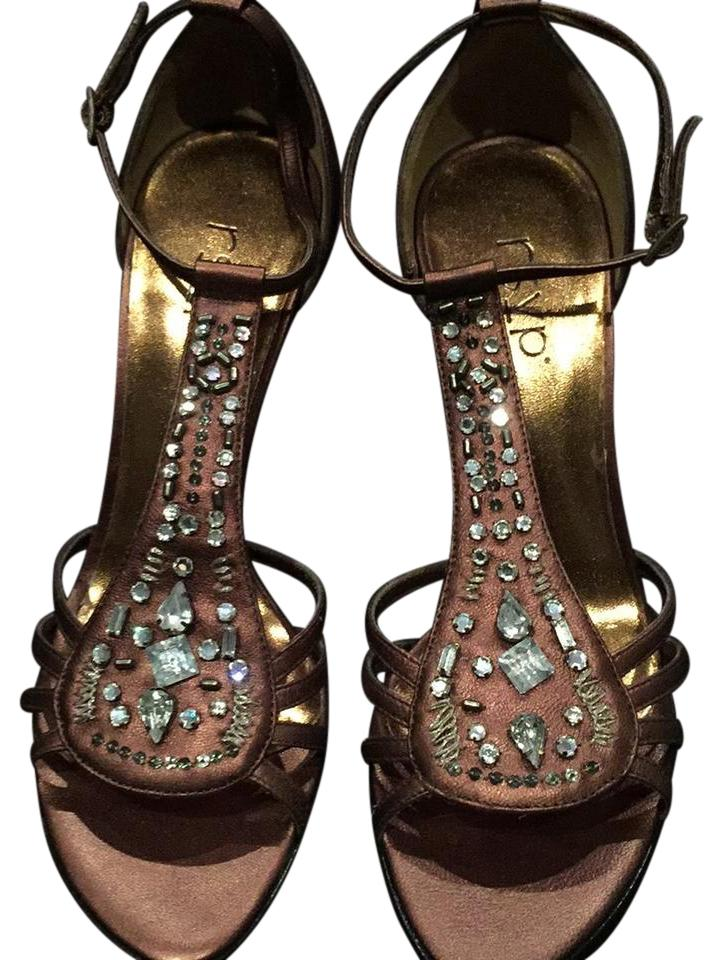 4757b1e62e9cc7 RSVP Brown Rhinestone and Beaded Heels Formal Shoes Size US 5 ...