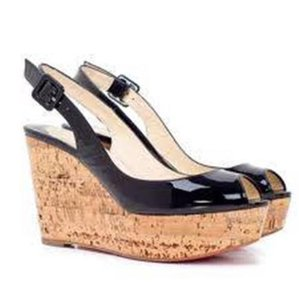 Christian Louboutin Cork Wedge Une Plume Slingback Black Platforms