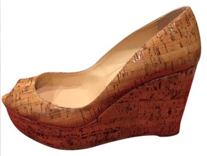Christian Louboutin Cork Wedge Une Plume Beige Platforms