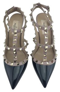 Valentino Rockstud Pointed Toe T-strap Nude Black Pumps